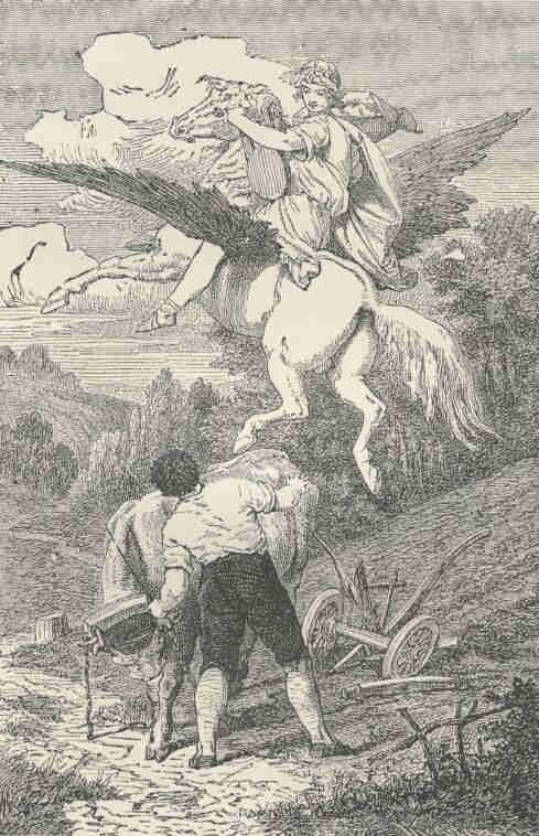 German Illustration of Schiller's Pegasus in Yoke